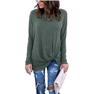 Tops - Comfy Casual Long Sleeve Side Twist Knotted Top